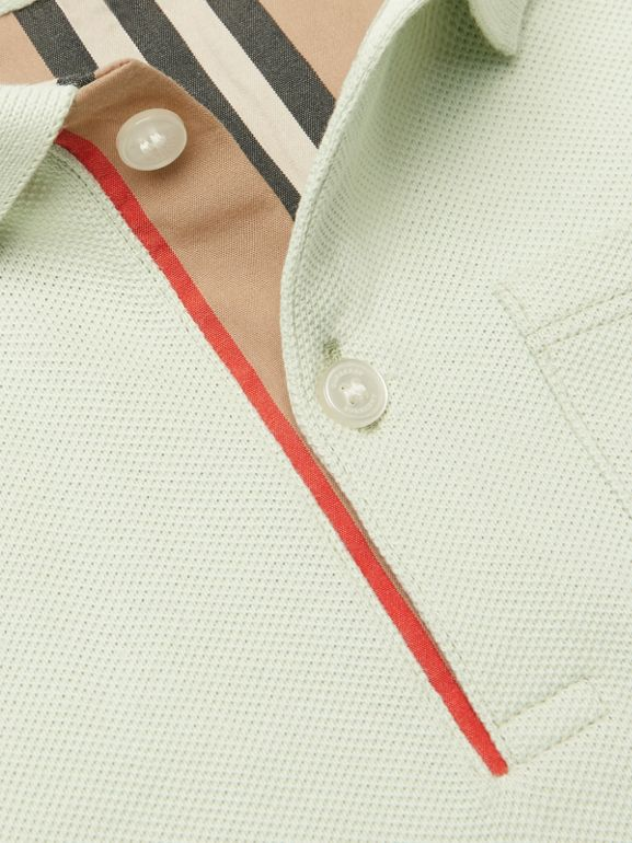 Icon Stripe Placket Cotton Piqué Polo Shirt in Pale Mint - Children | Burberry - cell image 1