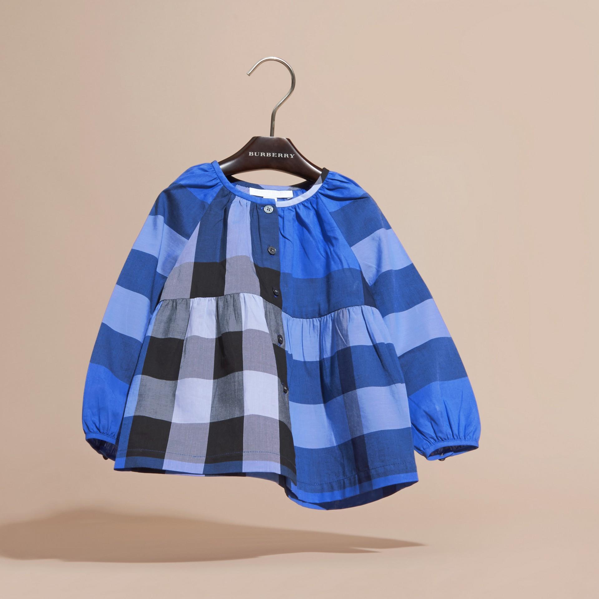 Bright hydrangea blue Puff Sleeve Check Cotton Blouse Bright Hydrangea Blue - gallery image 3