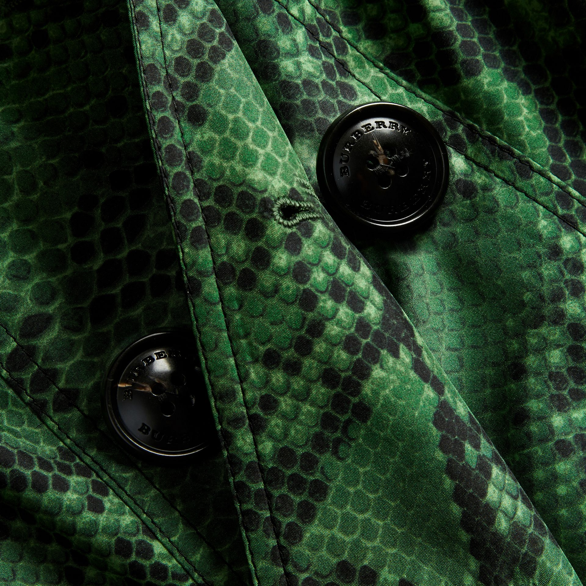 Bright green Python Print Silk Trench Coat Bright Green - gallery image 2