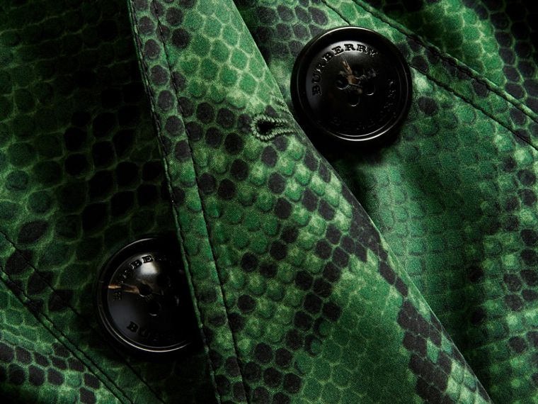 Bright green Python Print Silk Trench Coat Bright Green - cell image 1