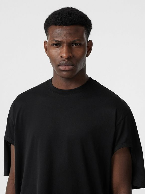 Cut-out Detail Cotton Oversized T-shirt in Black | Burberry Canada - cell image 1