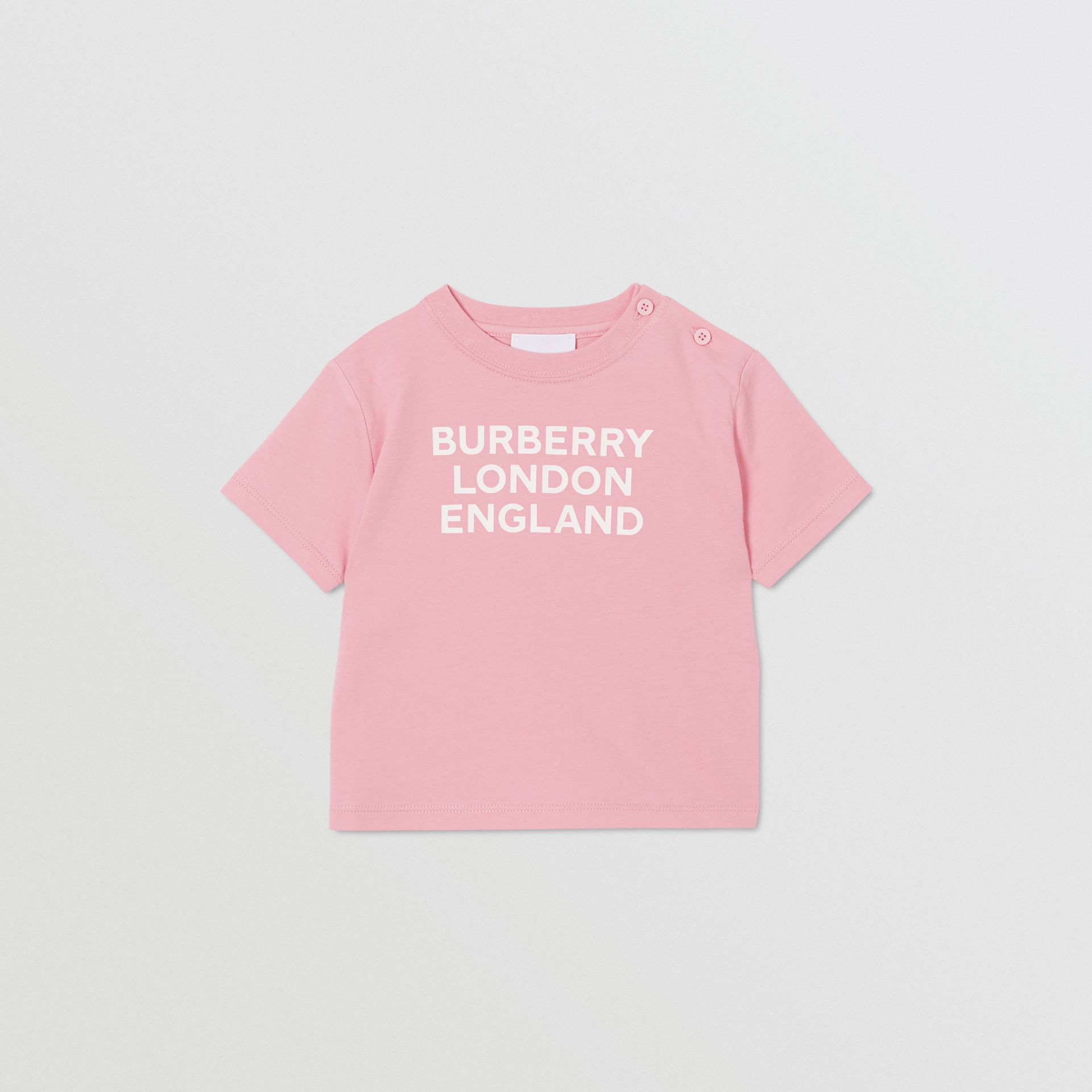 Logo Print Cotton T-shirt in Candy Pink - Children | Burberry - gallery image 0