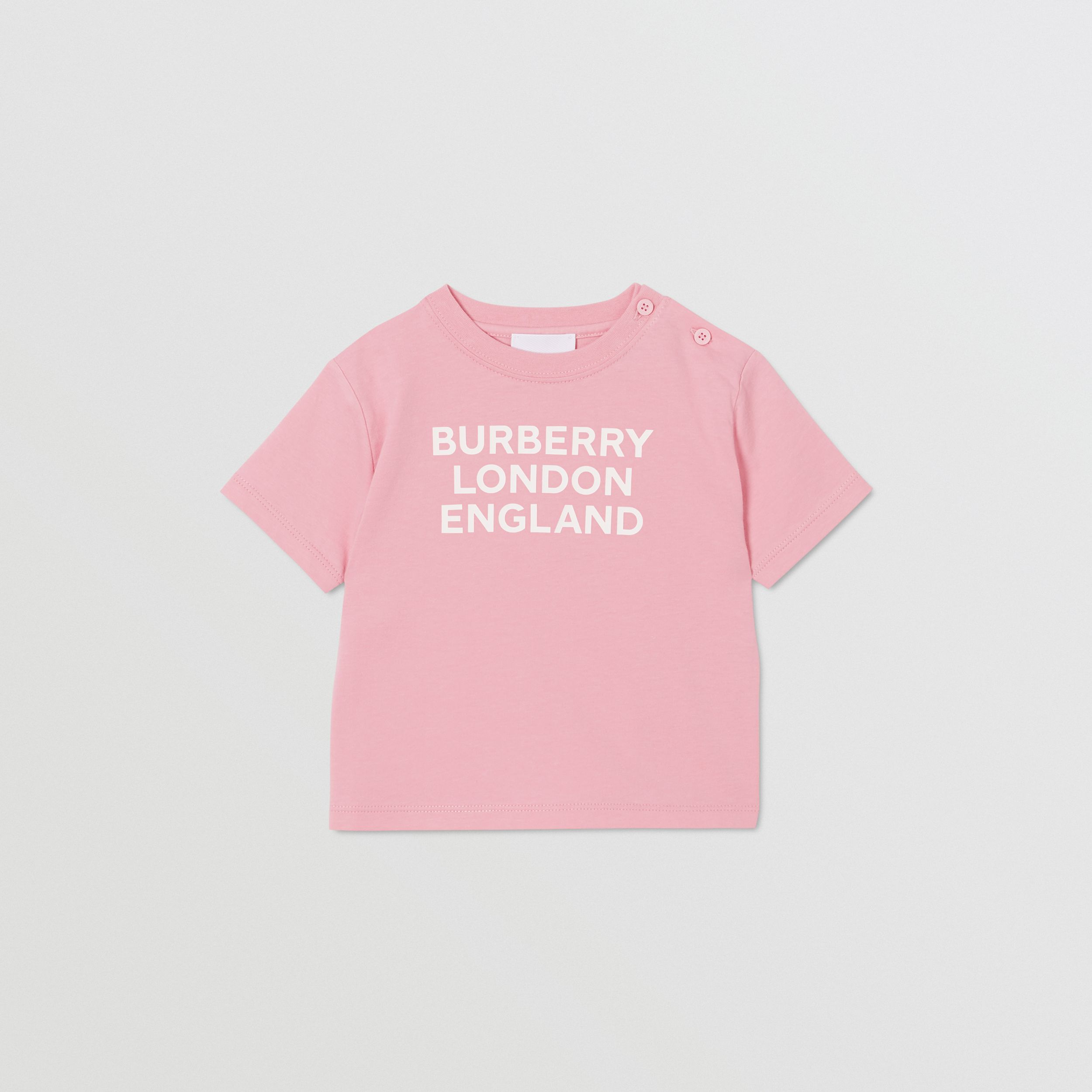 Logo Print Cotton T-shirt in Candy Pink - Children | Burberry - 1