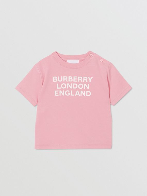 Logo Print Cotton T-shirt in Candy Pink
