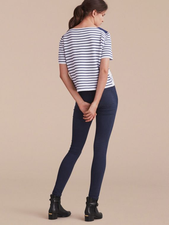 Check and Stripe Wool Blend T-shirt Bright Navy - cell image 2