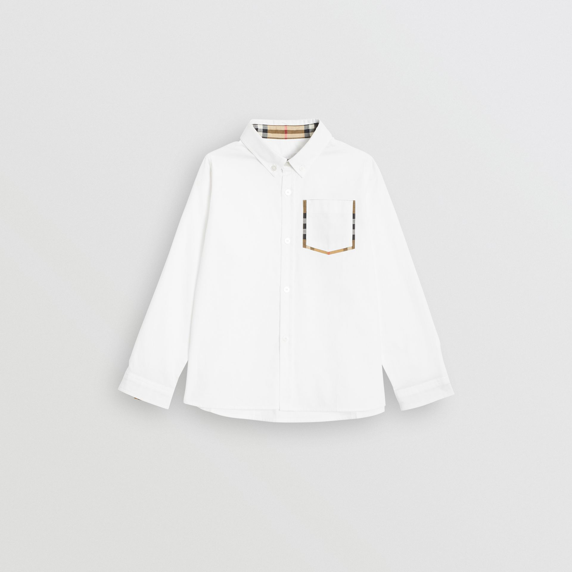 Check Detail Cotton Oxford Shirt in White | Burberry Canada - gallery image 0