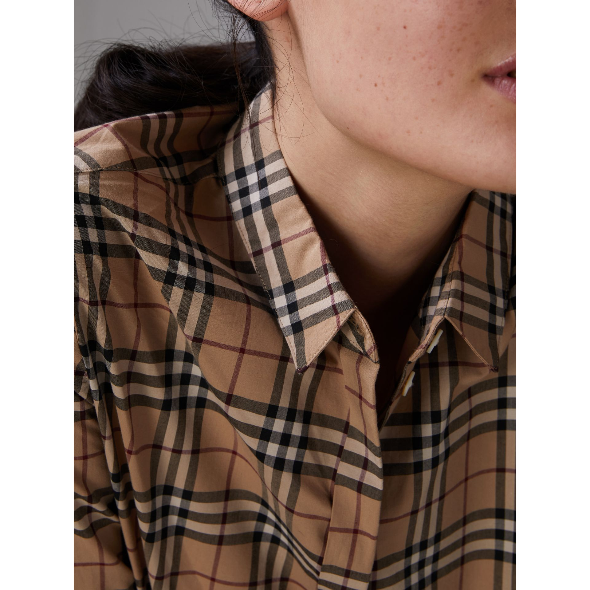 Check Cotton Shirt in Camel - Women | Burberry - gallery image 4