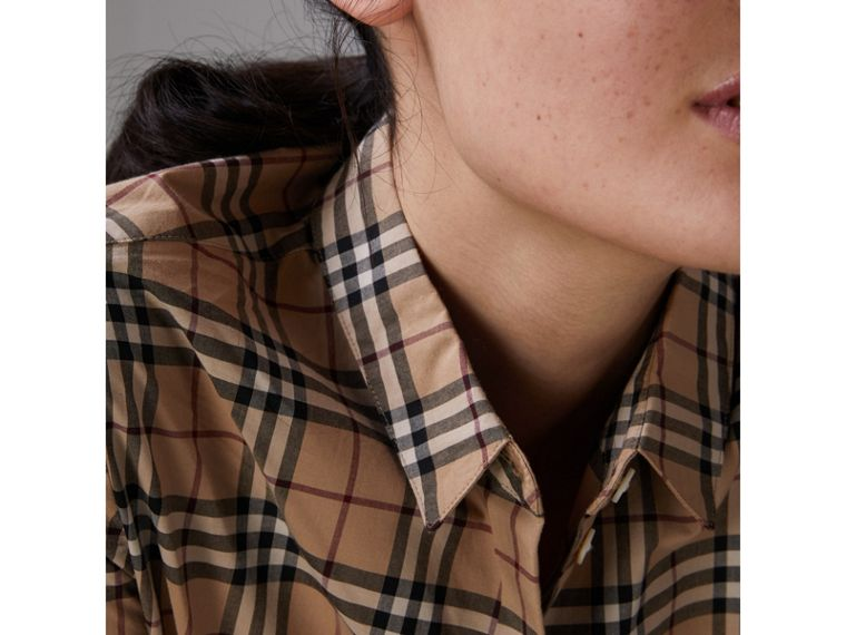 Check Cotton Shirt in Camel - Women | Burberry - cell image 4