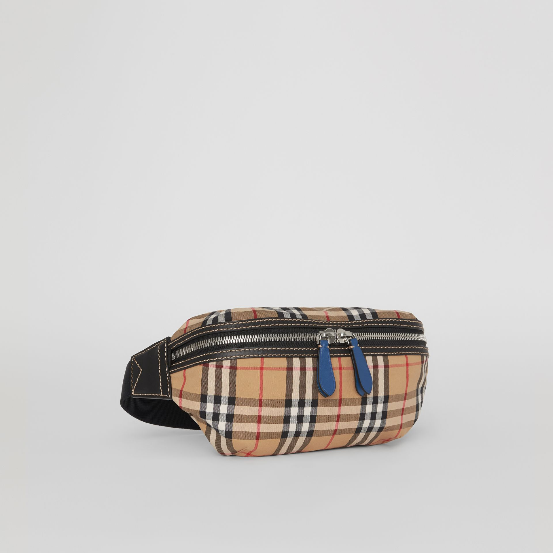 Medium Vintage Check Bum Bag in Canvas Blue - Men | Burberry Australia - gallery image 8