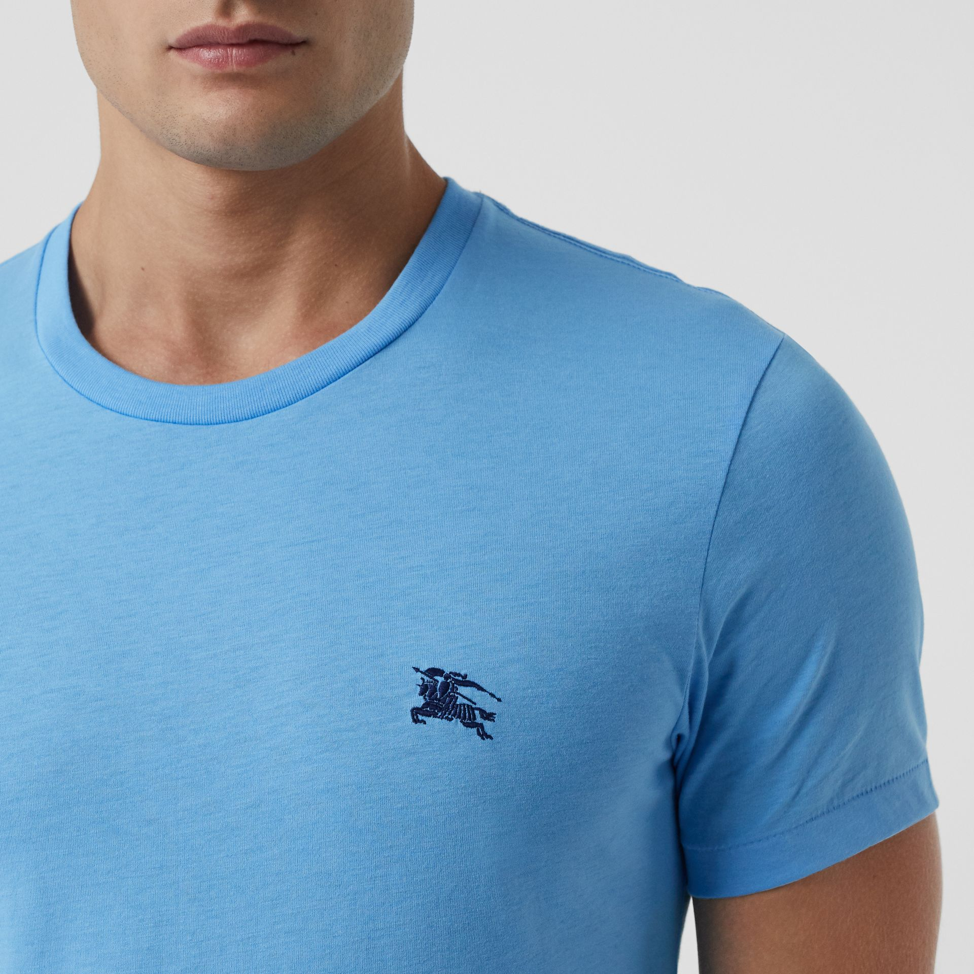 Cotton Jersey T-shirt in Blue Topaz - Men | Burberry - gallery image 1