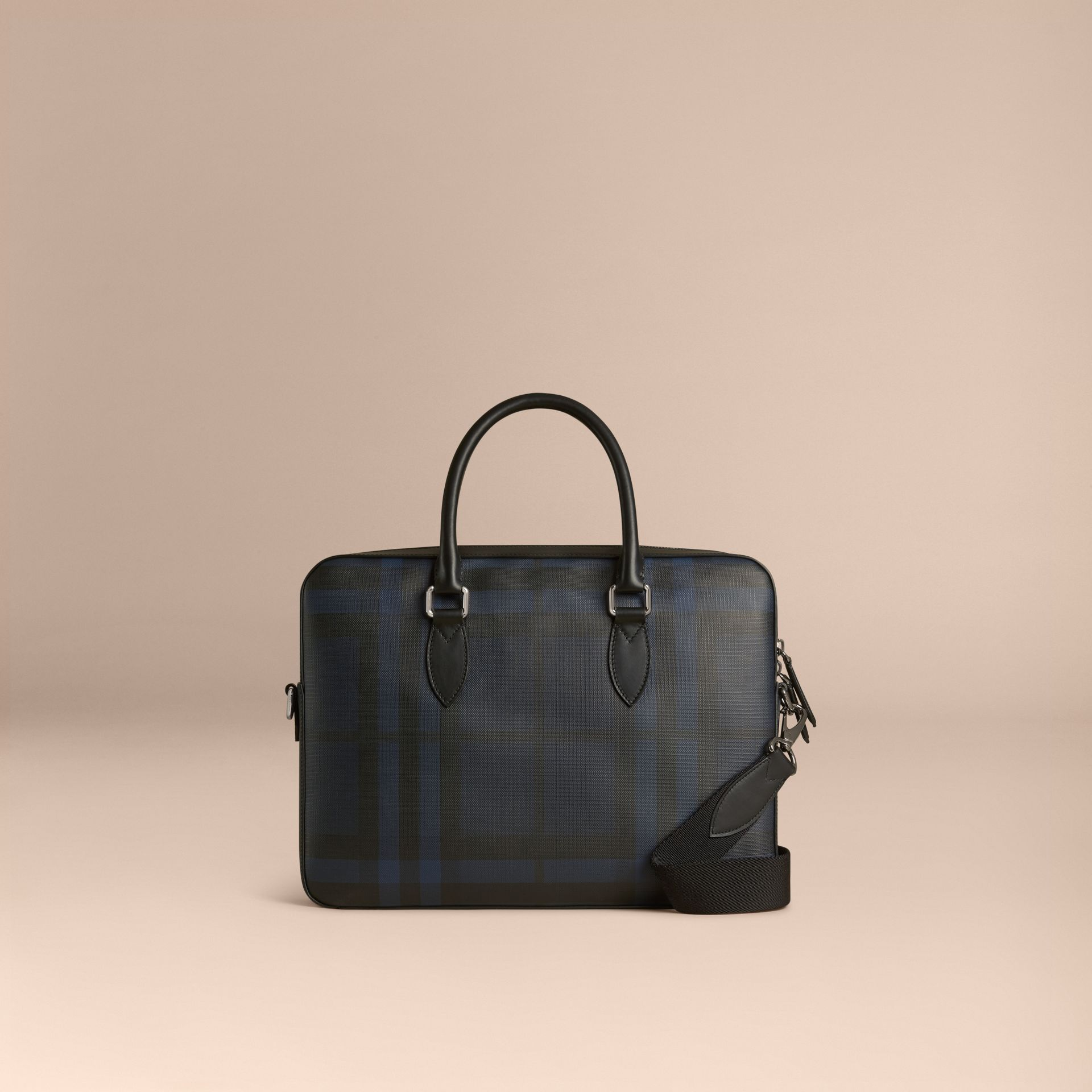 Navy/black Medium Leather Trim London Check Briefcase Navy/black - gallery image 1