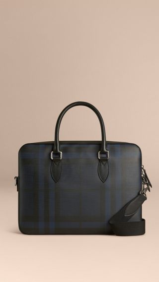 Attaché-case medium à motif London check avec éléments en cuir