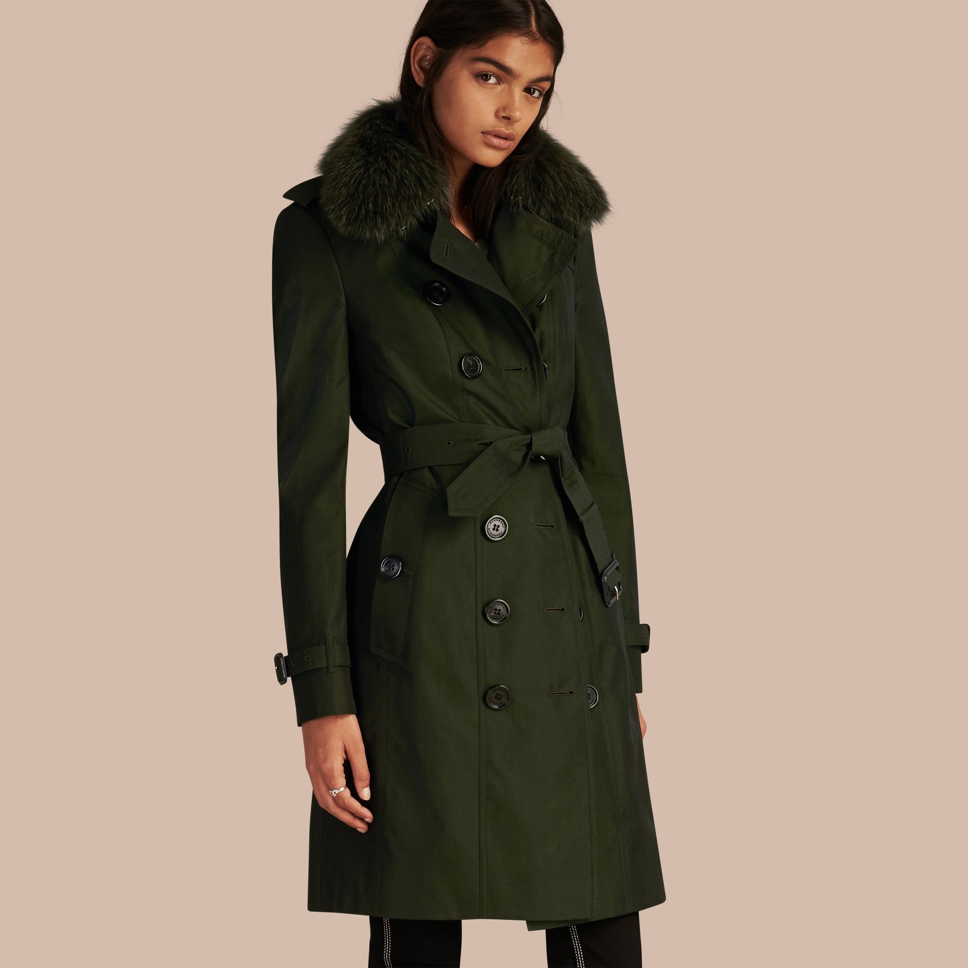 Dark cedar green Cotton Gabardine Trench Coat with Detachable Fur Trim Dark Cedar Green - gallery image 1
