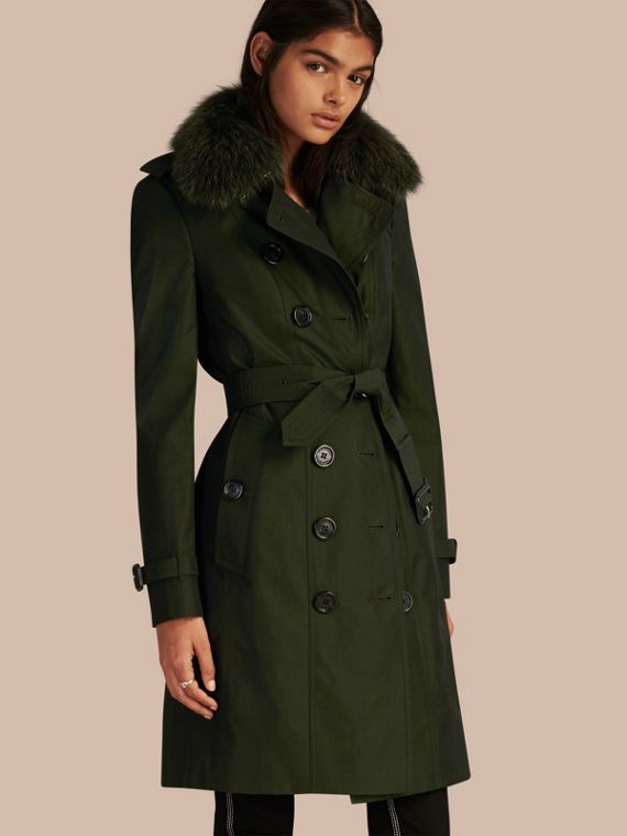 Cotton Gabardine Trench Coat with Detachable Fur Trim Dark Cedar Green