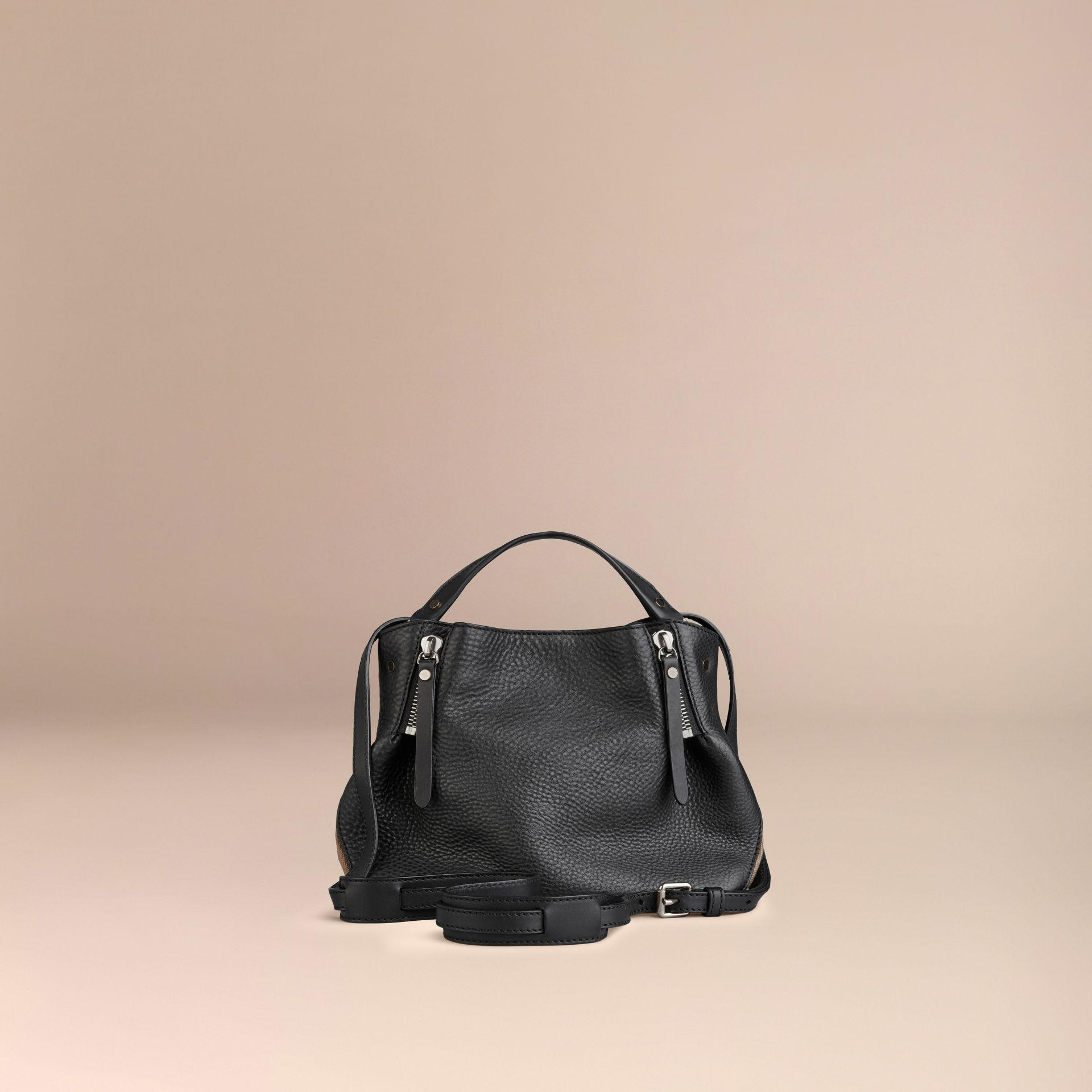black small check detail leather tote bag black gallery image 12 check small