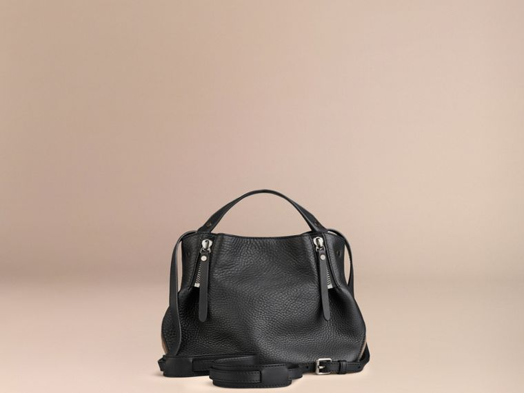 Black Small Check Detail Leather Tote Bag Black - cell image 4