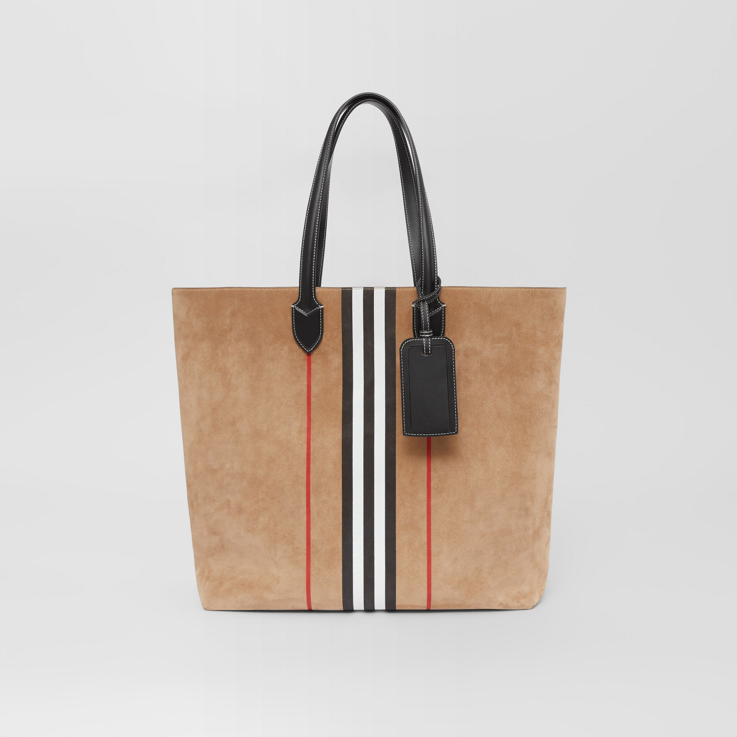 Large Icon Stripe Suede Tote in Archive Beige - Men | Burberry - 1