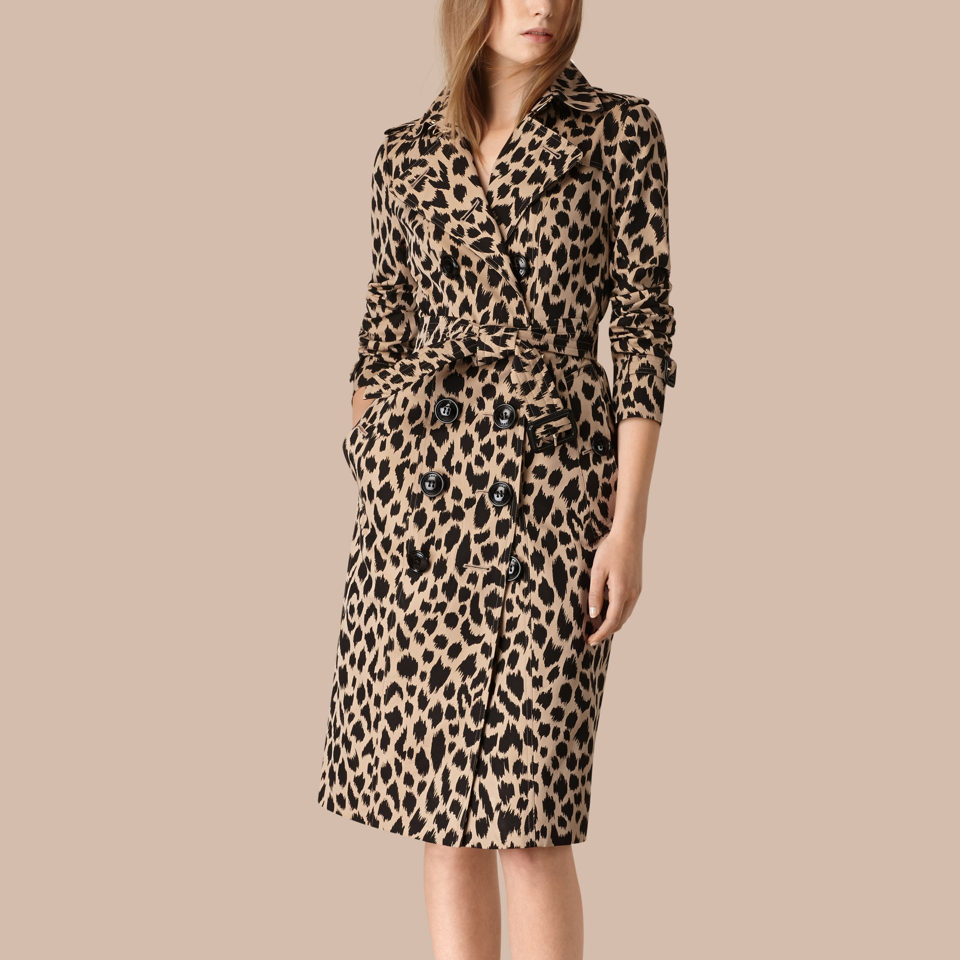 Honey/black Animal Print Cotton Gabardine Trench Coat - gallery image 3