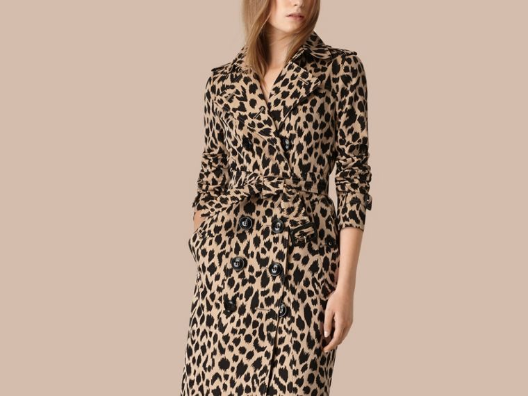 Honey/black Animal Print Cotton Gabardine Trench Coat - cell image 2