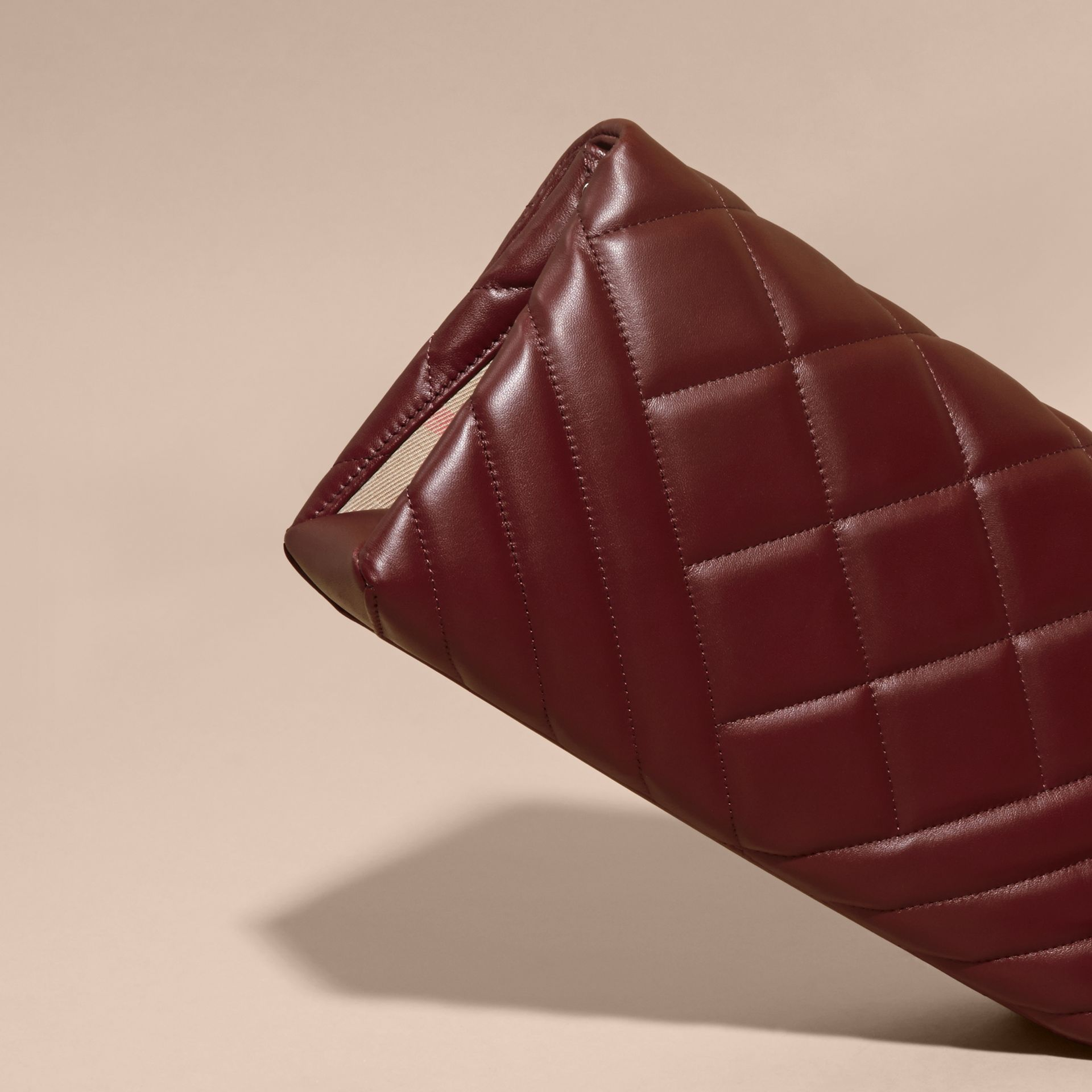 Dark damson Medium Quilted Leather and House Check Clutch Bag - gallery image 5