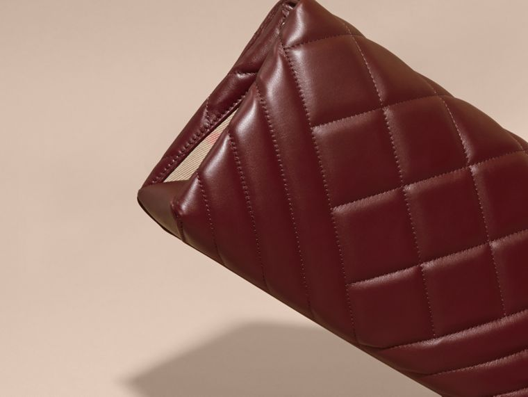 Dark damson Medium Quilted Leather and House Check Clutch Bag - cell image 4