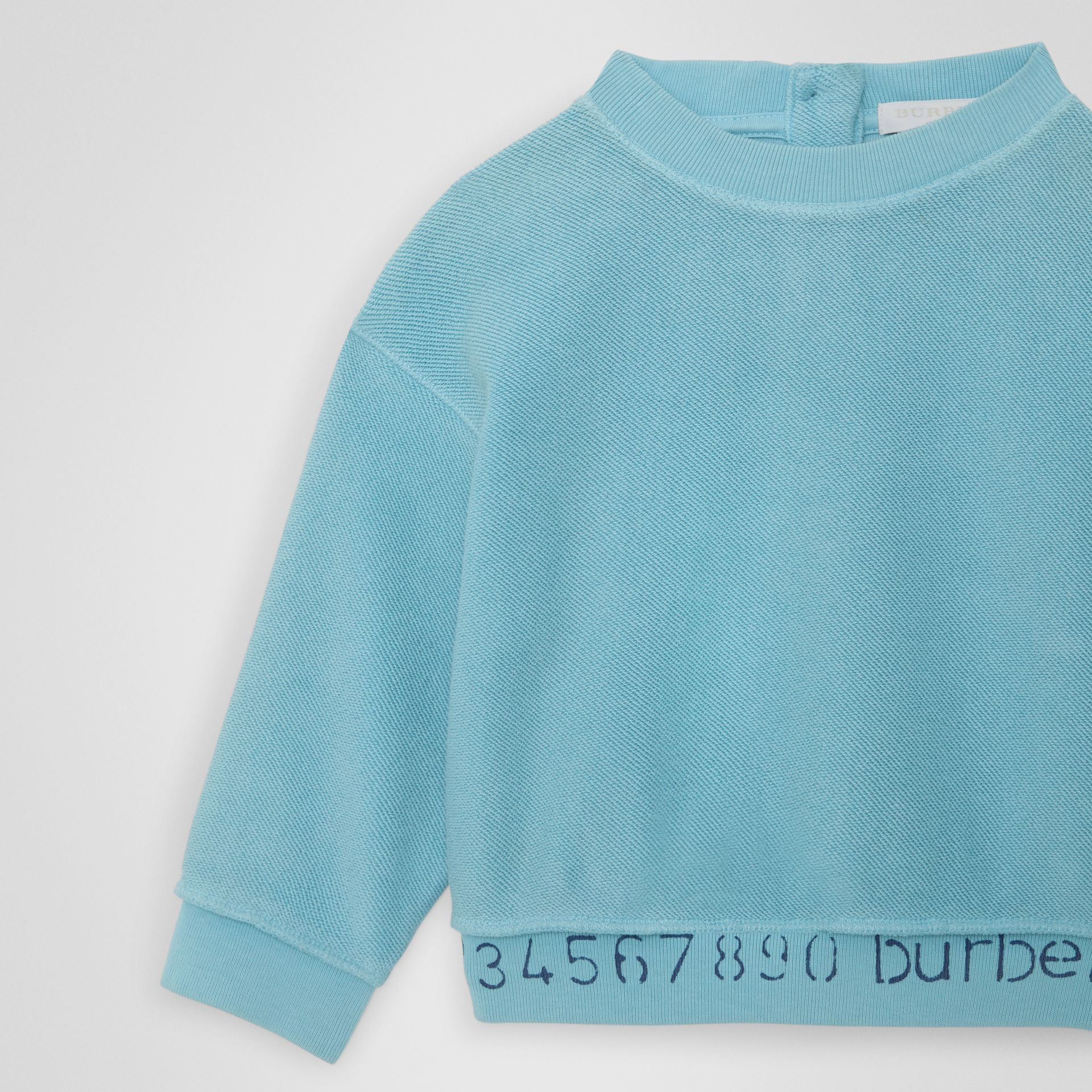 Stencil Logo Print Cotton Sweatshirt in Bright Cyan Blue - Children | Burberry - gallery image 4