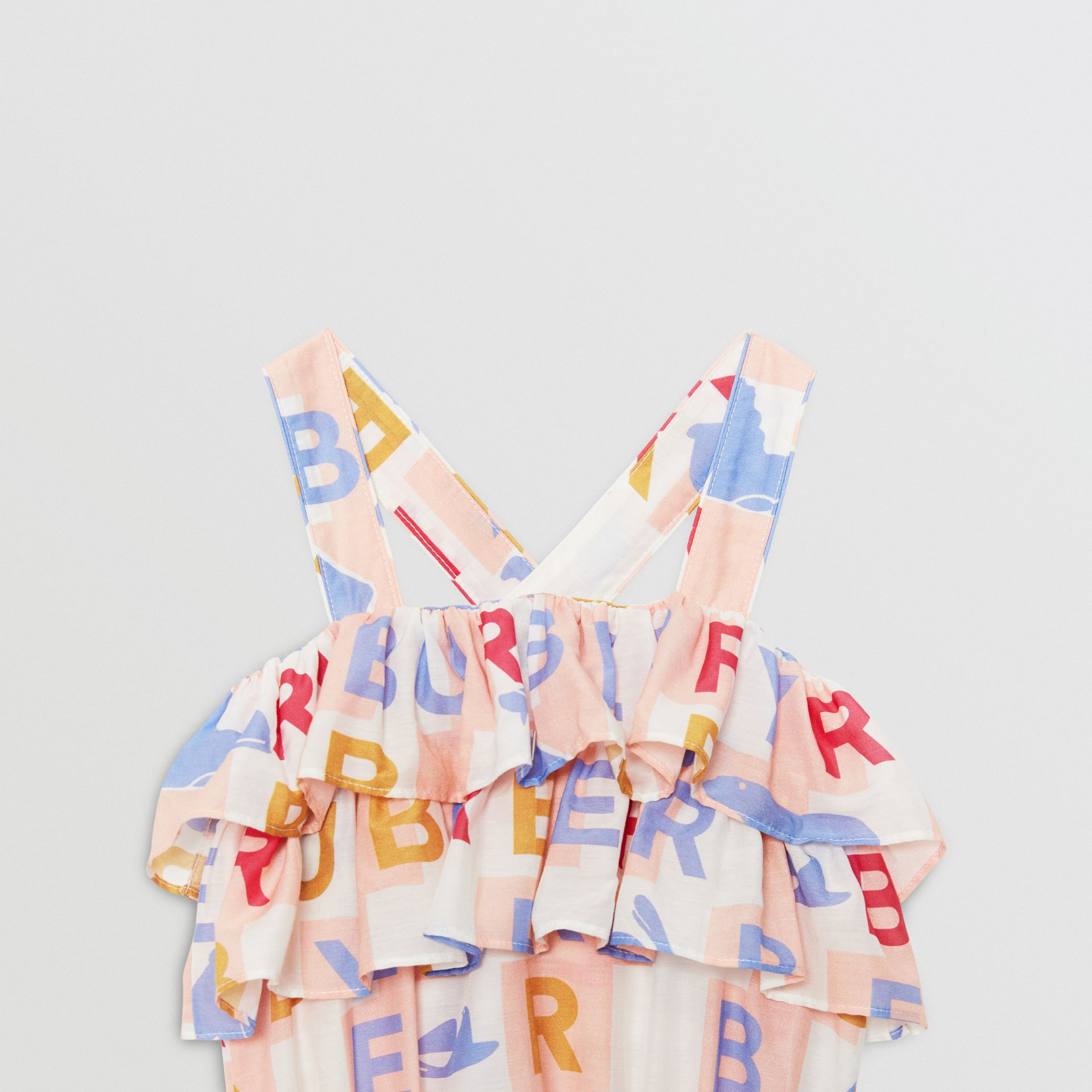 Ruffle Detail Logo Print Cotton Silk Playsuit in Pale Rose - Children | Burberry United States - gallery image 4