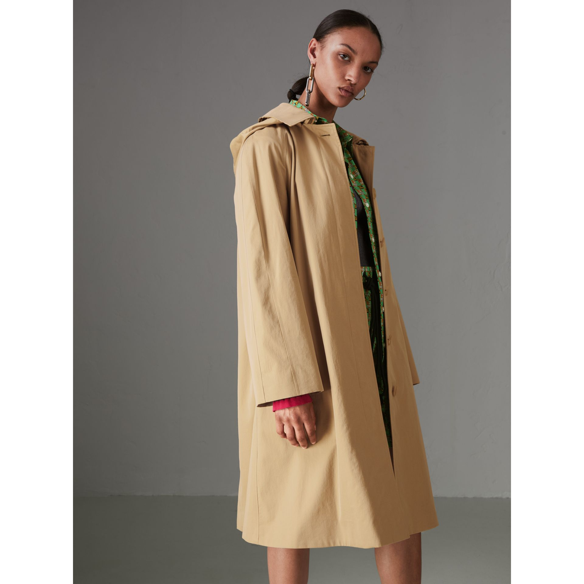 Detachable Hood Tropical Gabardine Car Coat in Honey - Women | Burberry - gallery image 5