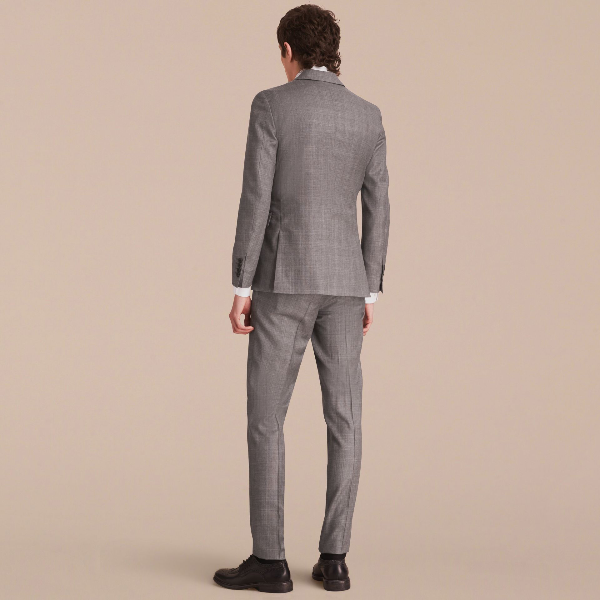 Slim Fit Prince of Wales Check Wool Part-canvas Suit in Pale Grey - Men | Burberry Hong Kong - gallery image 2