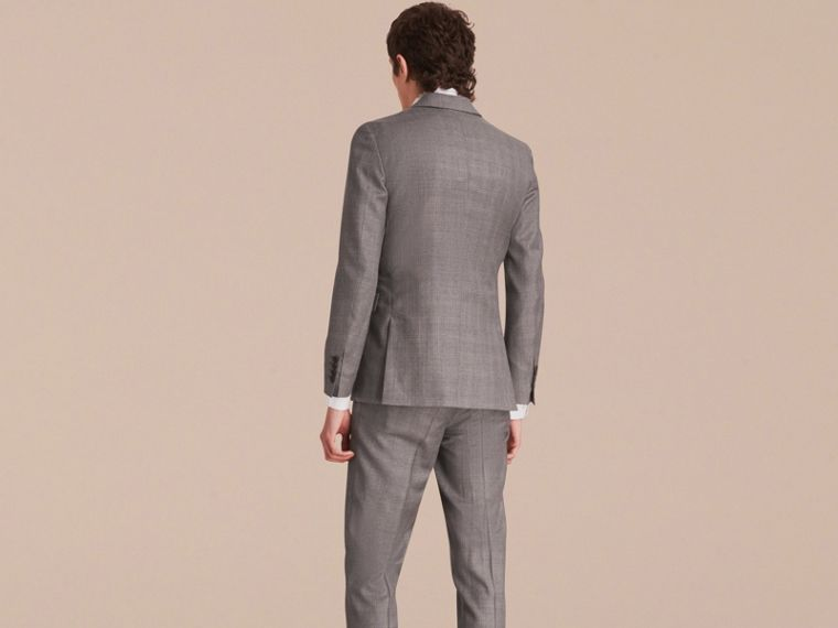 Slim Fit Prince of Wales Check Wool Part-canvas Suit in Pale Grey - Men | Burberry Hong Kong - cell image 1