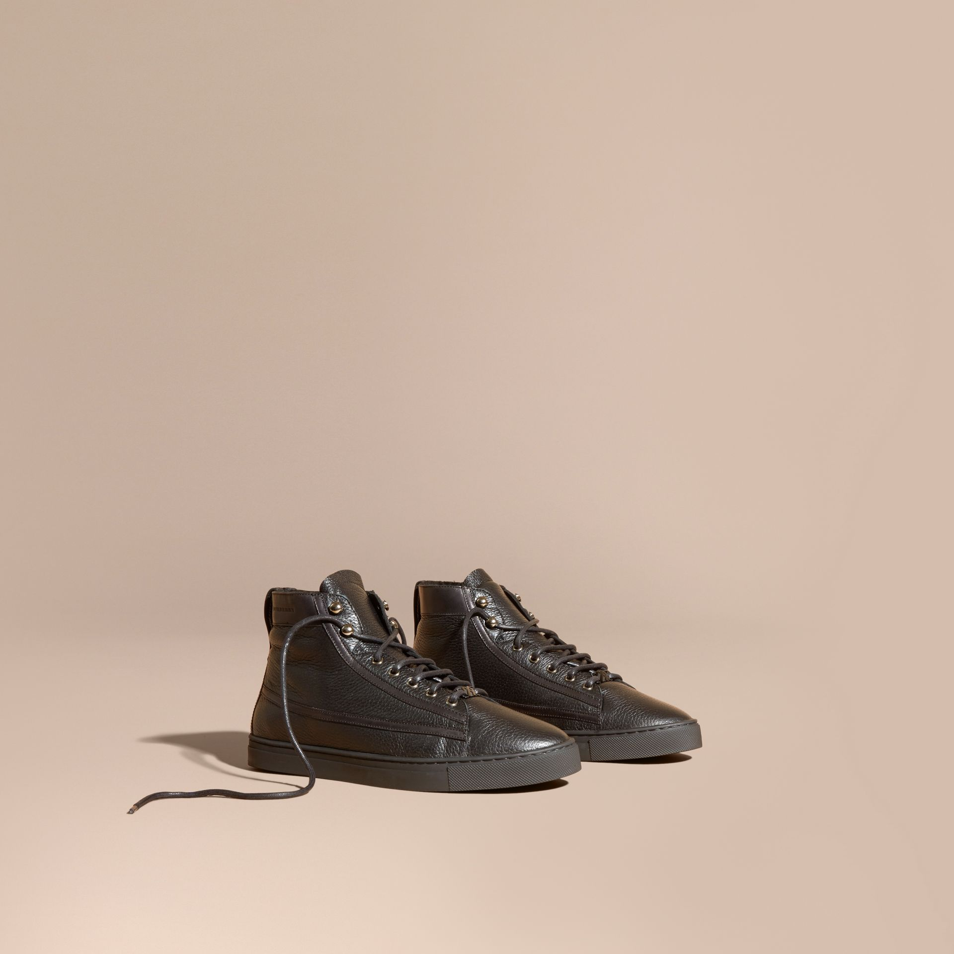 Black Shearling Lined Leather High-top Trainers - gallery image 1