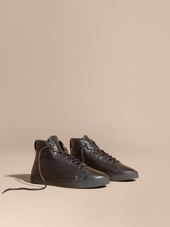 Shearling Lined Leather High-top Trainers