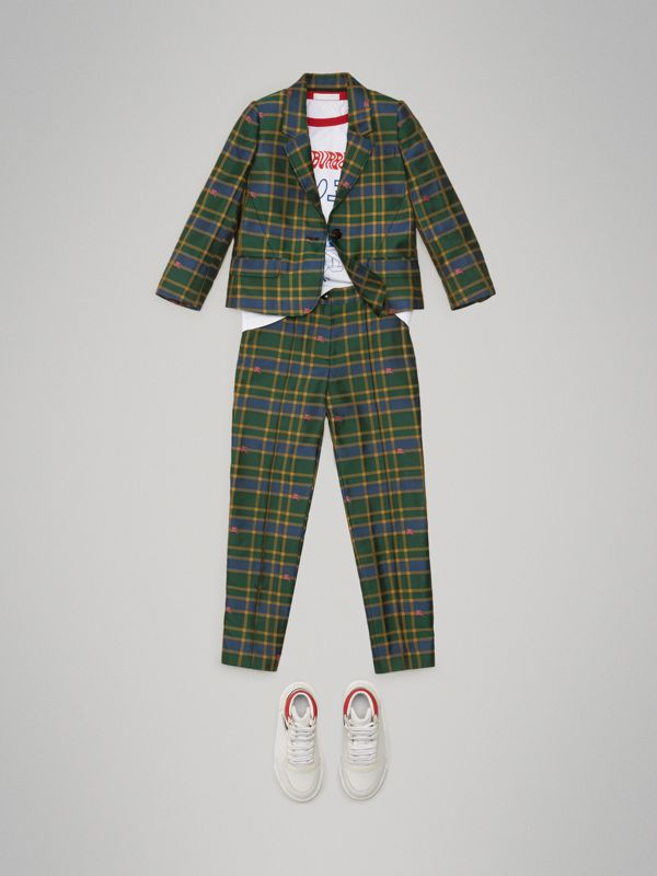 Equestrian Knight Check Tuxedo Trousers in Dark Navy/green | Burberry - cell image 2