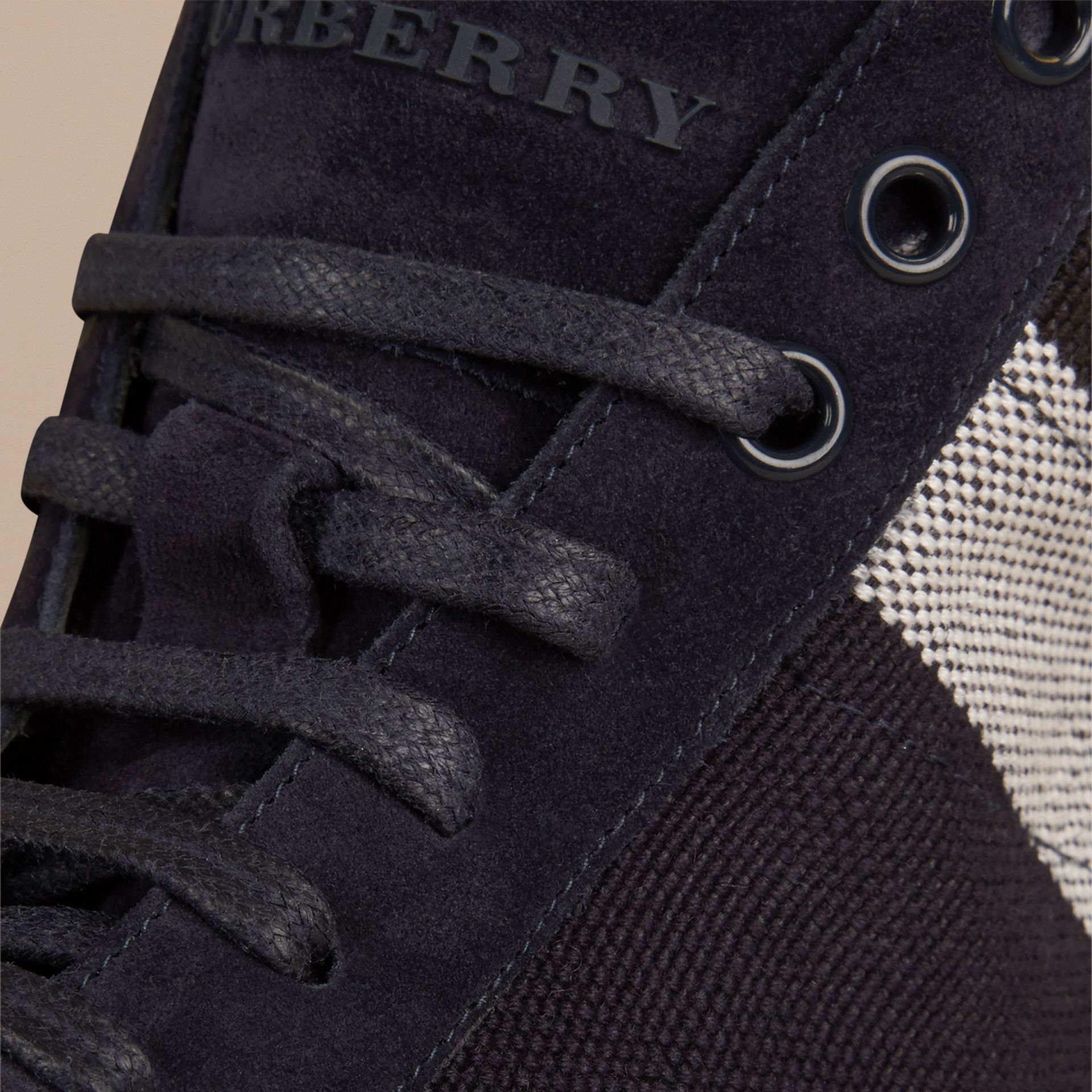 Dark indigo Exploded Check Suede and Jute High-top Trainers - gallery image 2