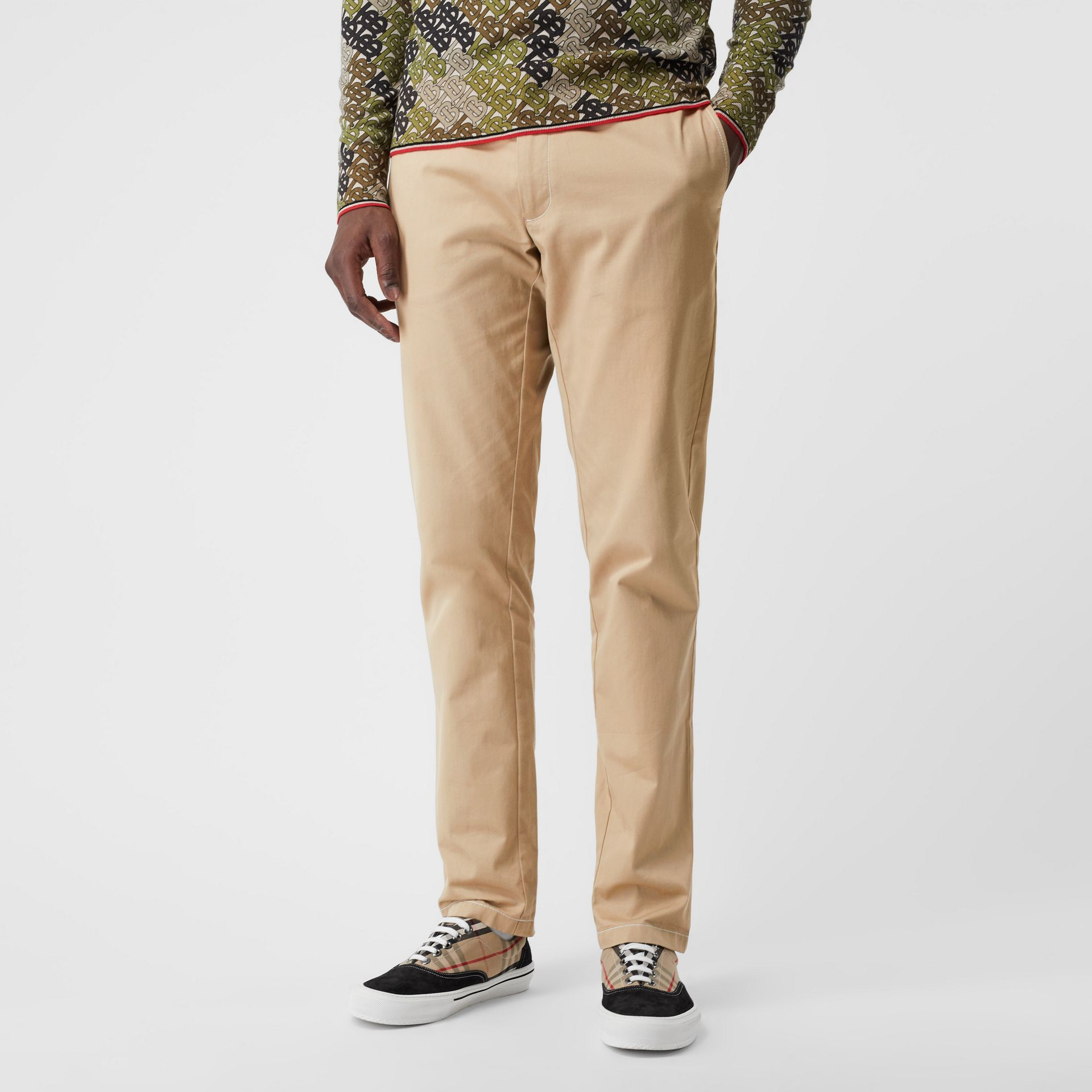 Slim Fit Topstitch Detail Cotton Chinos in Honey - Men | Burberry - gallery image 4