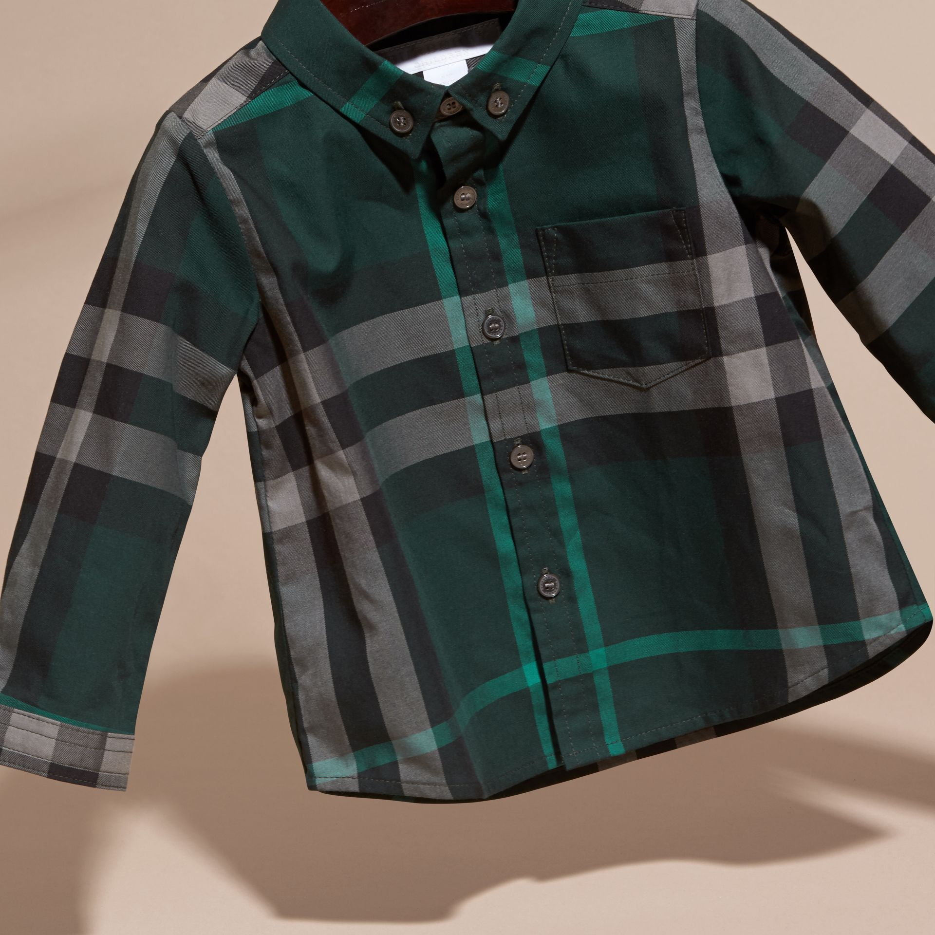 Racing green Check Button-Down Cotton Shirt Racing Green - gallery image 3