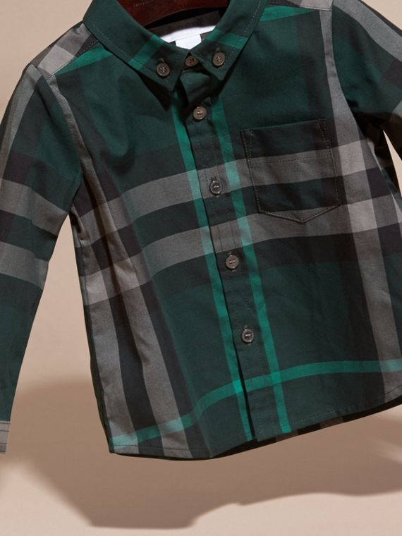 Racing green Check Button-Down Cotton Shirt Racing Green - cell image 2