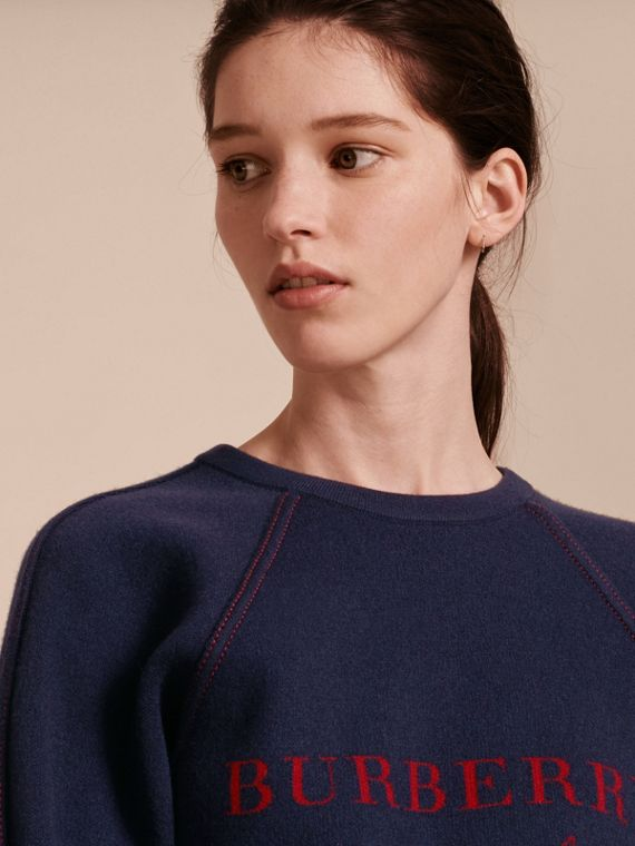 Topstitch Detail Wool Cashmere Blend Sweatshirt Navy