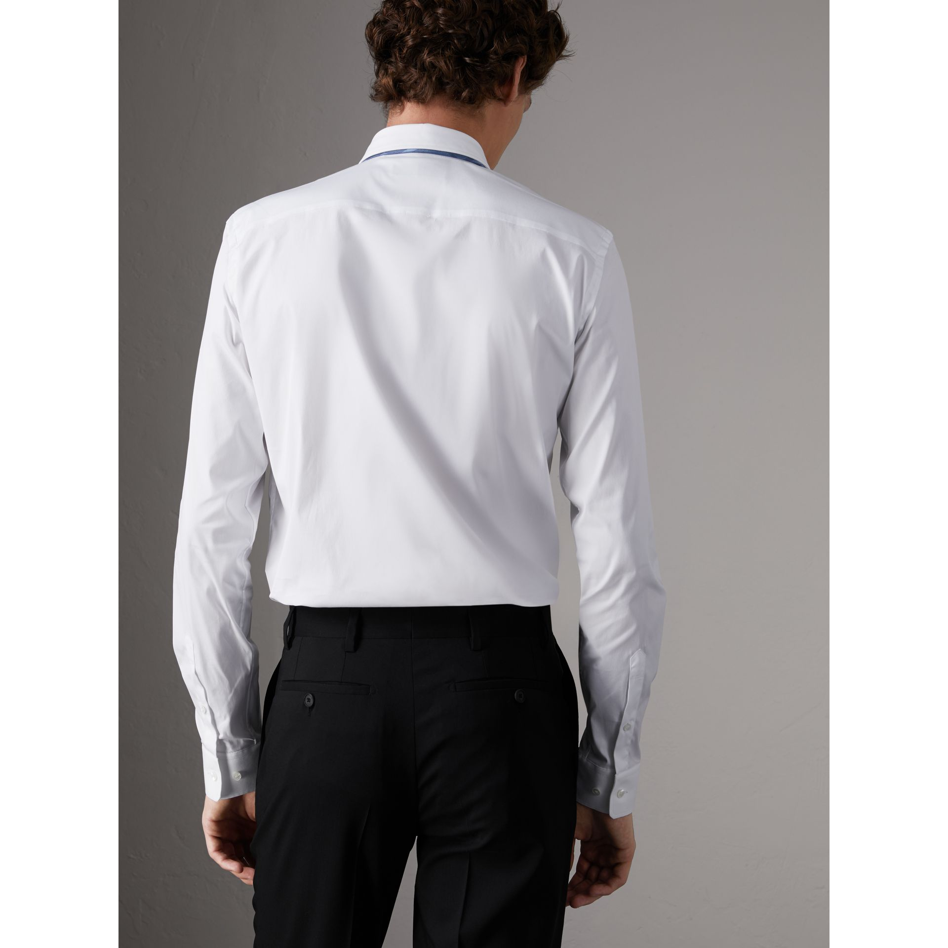 Slim Fit Stretch Cotton Poplin Shirt in White - Men | Burberry United States - gallery image 2