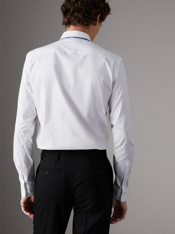 Slim Fit Stretch Cotton Poplin Shirt in White - Men | Burberry - cell image 2