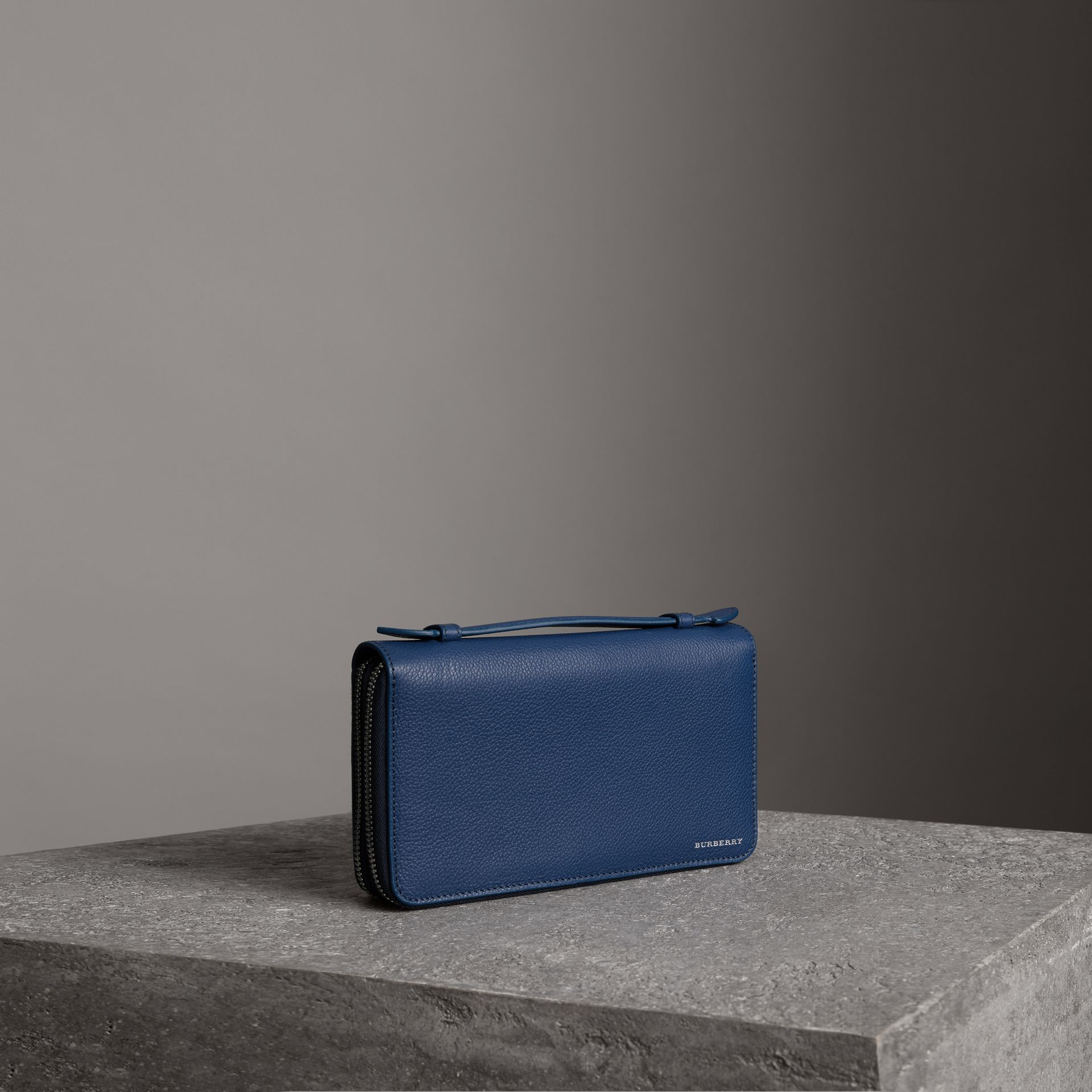 Grainy Leather Travel Wallet in Bright Ultramarine - Men | Burberry - gallery image 0