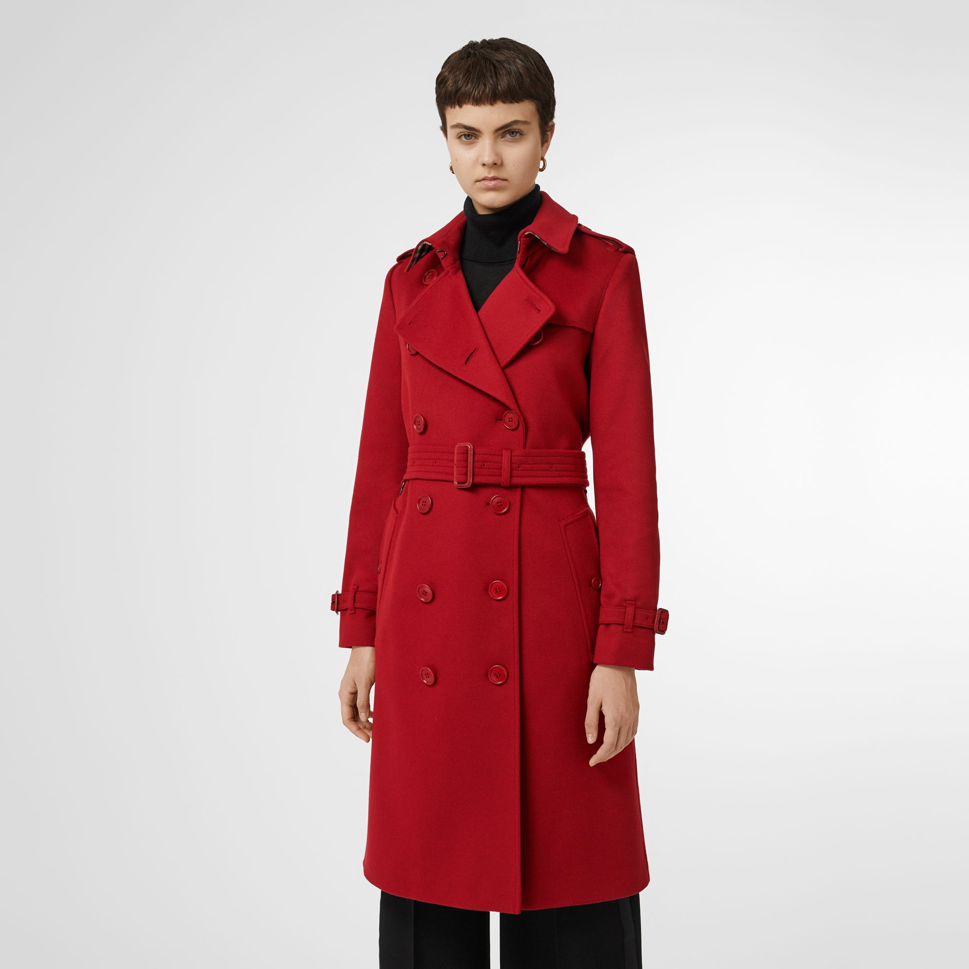 Cashmere Trench Coat in Red - Women | Burberry - gallery image 6