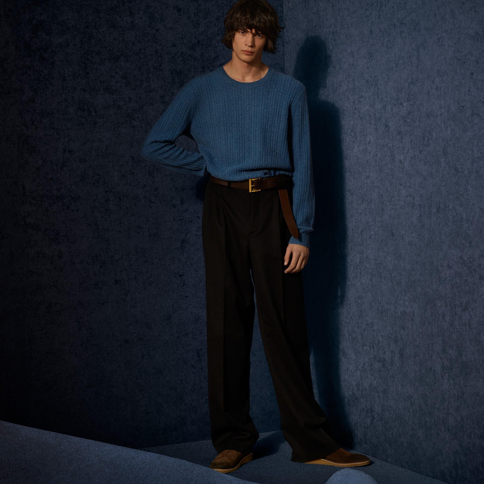 Hydrangea blue Aran Knit Cashmere Sweater Hydrangea Blue - gallery image 8