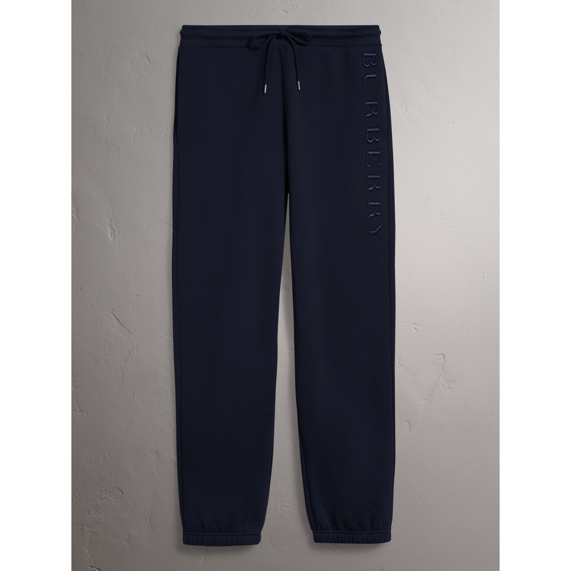 Embroidered Jersey Sweatpants in Navy - Women | Burberry United Kingdom - gallery image 3