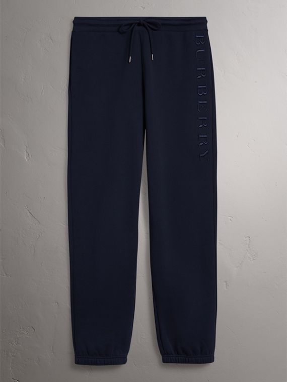 Embroidered Jersey Sweatpants in Navy - Women | Burberry United Kingdom - cell image 3