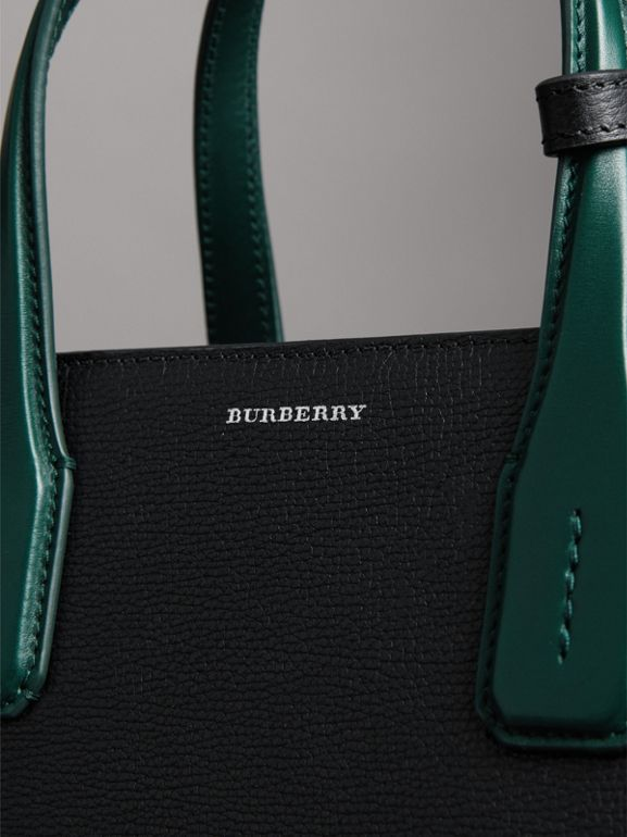 The Medium Banner in Two-tone Leather in Black/sea Green - Women | Burberry - cell image 1