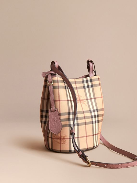 Leather and Haymarket Check Crossbody Bucket Bag in Light Elderberry - Women | Burberry Singapore