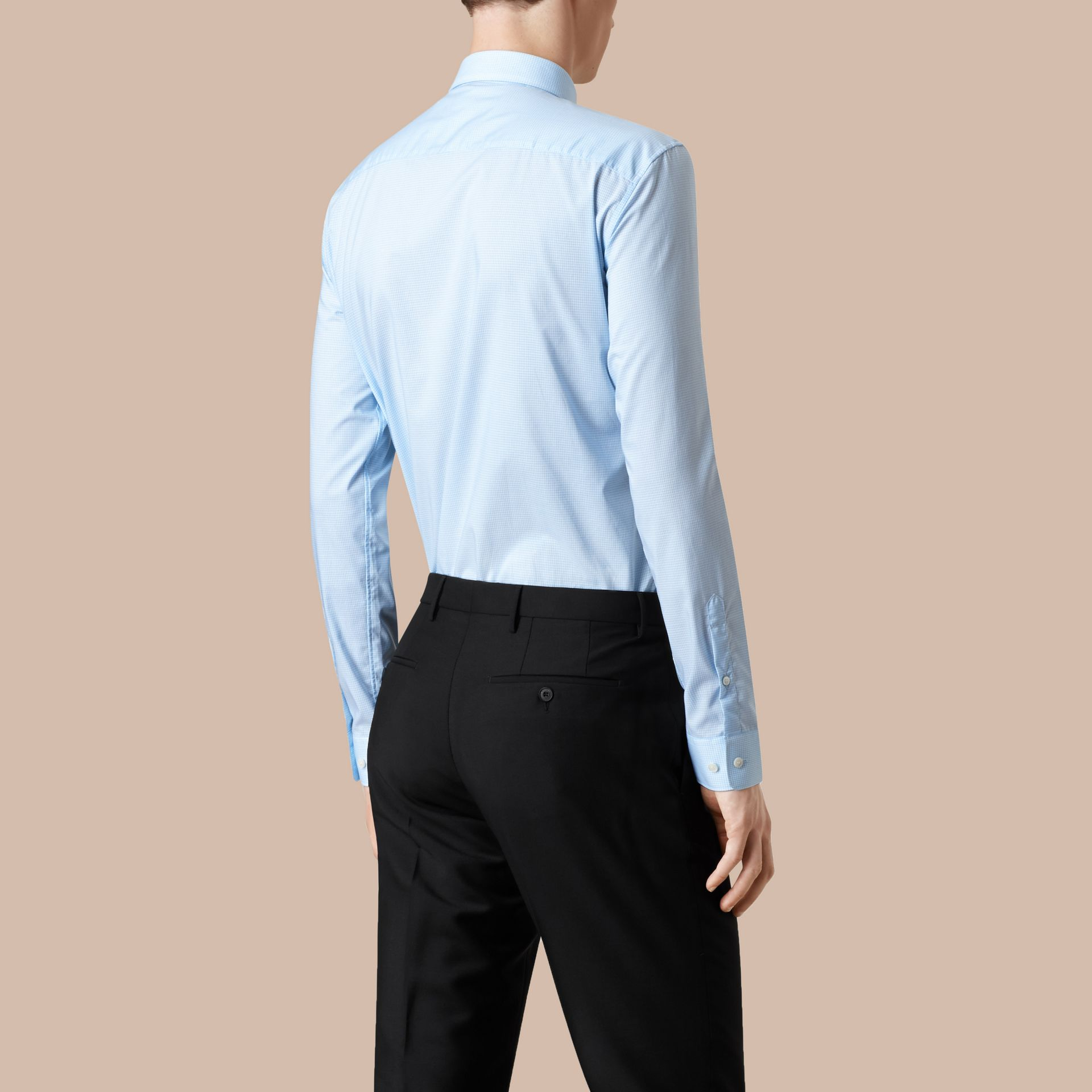Modern Fit Gingham Cotton Poplin Shirt in City Blue - Men | Burberry - gallery image 3