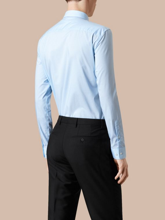 Modern Fit Gingham Cotton Poplin Shirt in City Blue - cell image 2