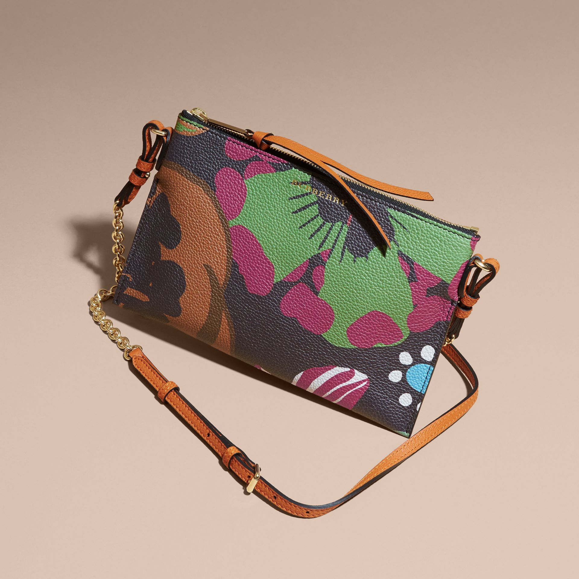 Floral Print Leather Clutch Bag in Navy - gallery image 8